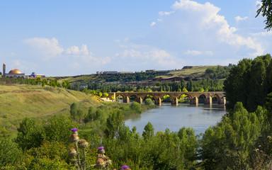 Diyarbakir, Turkey historic ten-eyed bridge view(on gozlu kopru)