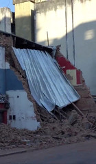 Debris is seen at the site where a cinema has collapsed in Tucuman