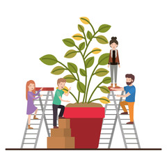minipeople team working in houseplant vector illustration design