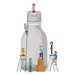 minipeople team working in bottle vector illustration design