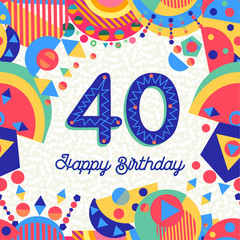 40 forty year birthday party greeting card