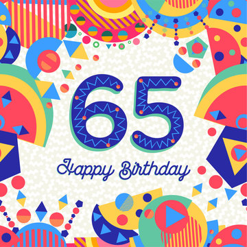65 sixty five year birthday party greeting card