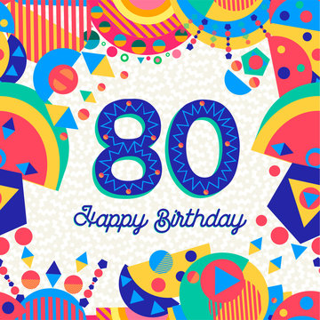 80 eighty year birthday party greeting card