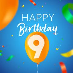 Happy birthday 9 nine year balloon party card