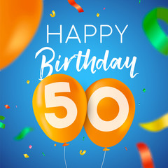 Happy birthday 50 fifty year balloon party card