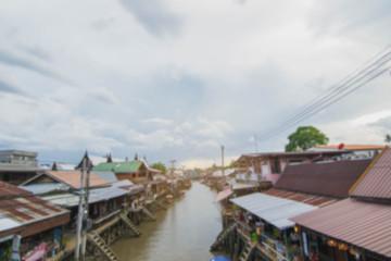 Abstract Blur image of Floating Market ,Samut-Songkhram ,Thailand.