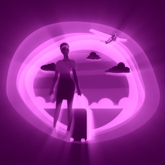 Woman traveler silhouette standing with baggage. Retro hair style. Cloudscape with retro airplane on backdrop. Background with paper cut shapes.
