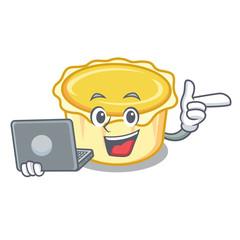 With laptop egg tart character cartoon