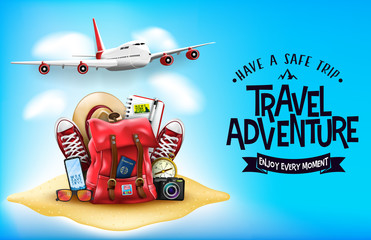3D Realistic Travel Items Like Airplane, Backpack, Sneakers, Mobile Phone, Passport and Sunglasses in the Sand with Have A Safe Trip Travel Adventure