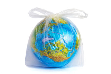 globe in polyethylene plastic disposable bag