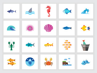 Marine life concept. Flat icon set. Seafood, underwater world, sea animals. Can be used for topics like fauna, sea, ocean