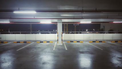 Car parking bar in the area in department store. Indoor parking in shopping center with copy space