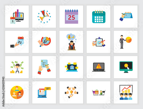 Business research icon set  Can be used for topics like