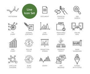 Business vector icons set. Twenty two line icons