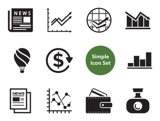 Company simple icons set with bar charts, pie diagram and line chart. Thirteen flat icons