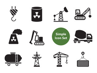Industrial icons set with fork lift truck, tower crane and excavator. Thirteen vector icons