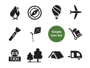 Travel icons set with passport, airport sign and tourist tent. Thirteen vector icons