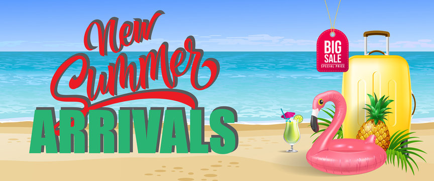 Big sale, new summer arrivals banner design. Cold drink, pineapple, toy flamingo, yellow travel case, beach, sea. Text can be used for flyers, labels, posters.