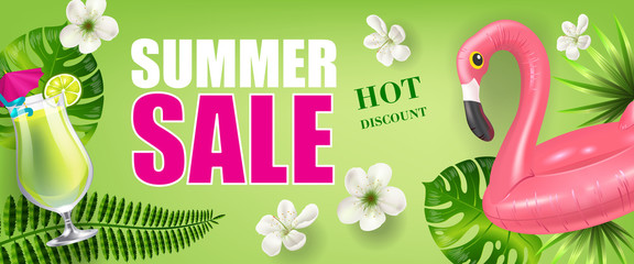 Summer sale hot discount banner design with palm leaves and flowers, cold drink and toy flamingo on green background. Typed text can be used for flyers, labels, posters.