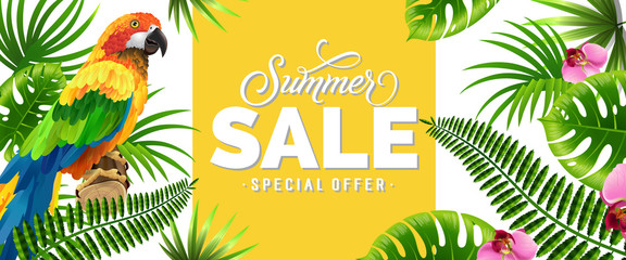 Summer sale, special offer banner design with palm leaves, tropical flowers and parrot. Text can be used for poster, labels, brochures.