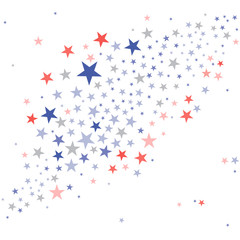 United States Patriotic background in flag colors with faded dull stars scattered on a white background