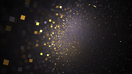 Abstract glittering texture with golden and grey particles. Fantasy fractal design. Digital art. 3D rendering.