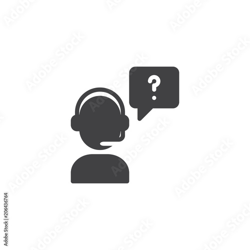 Call Center Operator With Question Speech Vector Icon Filled Flat