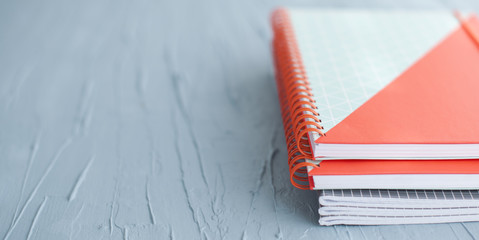 School and office supplies on white background, back to school. blue background. Copy space