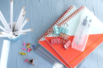 Back to school concept. School and office supplies on office table. Flat lay with copy space