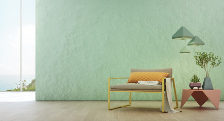 Wall Mural - Sea view living room of luxury summer beach house with glass window and wooden floor. Empty rough turquoise concrete wall background in vacation home or holiday villa. Hotel interior 3d illustration.