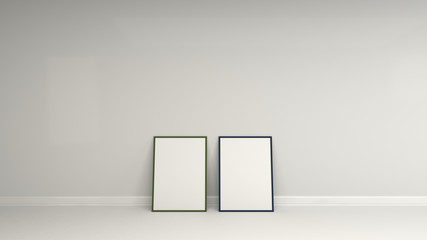 Blank white poster in colorful frame standing on the floor
