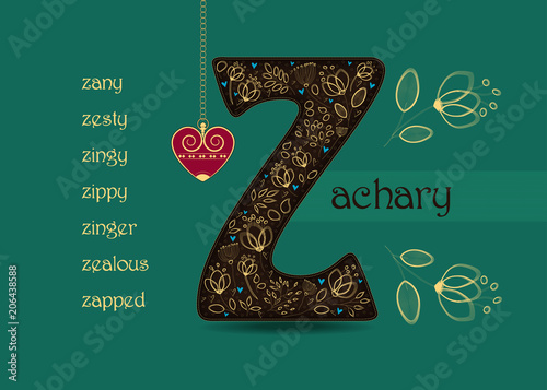 Name Day Greeting Card with Flowers and letter Z
