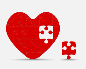 Red Piece Puzzle Heart. Jigsaw Love. Romantic.