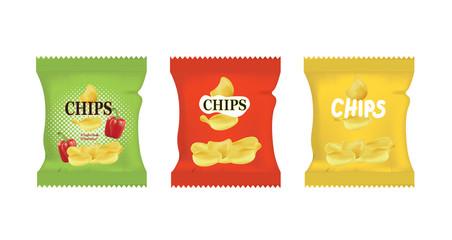 Potato chips bags. vector illustration Fototapete