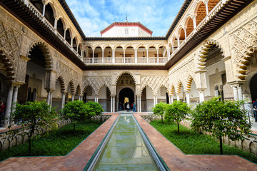 beautiful patio of royal alcazar at Seville