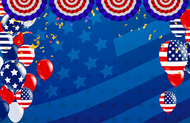 Vector Labor Day greeting or invitation card. National american holiday illustration with USA flag , September 7th, United state of America,