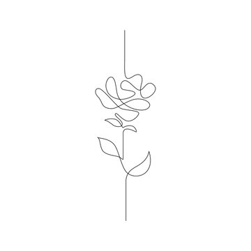 One line drawing. Continuous line flower. Hand-drawn illustration for logo, emblem and design card, poster. Vector.
