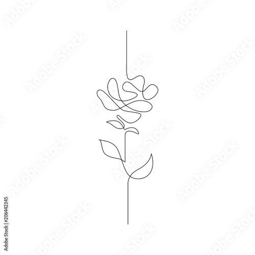 Single Line Drawing Flowers : Quot one line drawing continuous flower hand drawn
