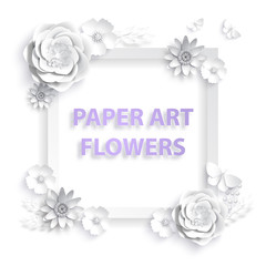 Paper art flowers. Template frame for advertising, invitation or poster sale with flowers, leaves and butterfly background. Vector stock illustration