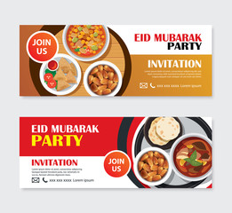 Eid Mubarak party invitations greeting card and banner with food background. Ramadan Kareem vector illustration. Use for cover, poster, flyer, brochure, label, voucher, sale template.