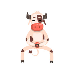 Funny cow cartoon character doing physical exercises vector Illustration on a white background