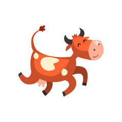 Cute happy brown spotted cow jumping, funny farm animal cartoon character vector Illustration on a white background