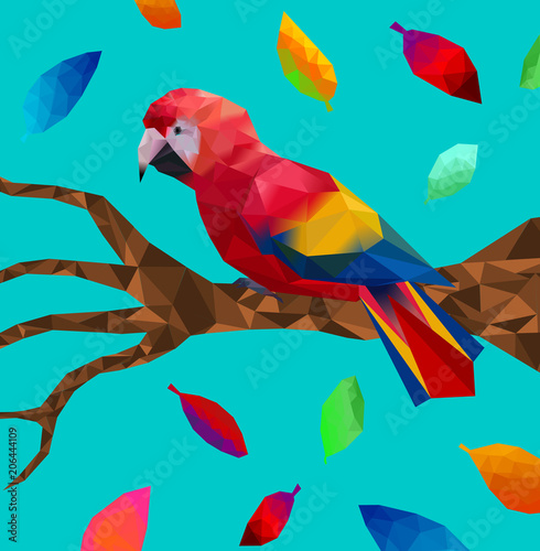 Low poly colorful parrot bird with tree on back ground