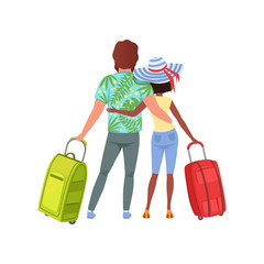 Young couple with travel bags, back view, man and woman traveling together during summer vacation vector Illustration on a white background