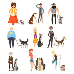 People walking with their dogs set, owners and their pets vector Illustration on a white background