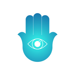 Hamsa. Open hand with the all-seeing eye. Vector illustration.