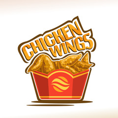 Vector logo for Chicken Wings, poster with crispy kentucky fried poultry in red carton box, original typeface for words chicken wings, illustration of label on white for american fastfood cafe menu.