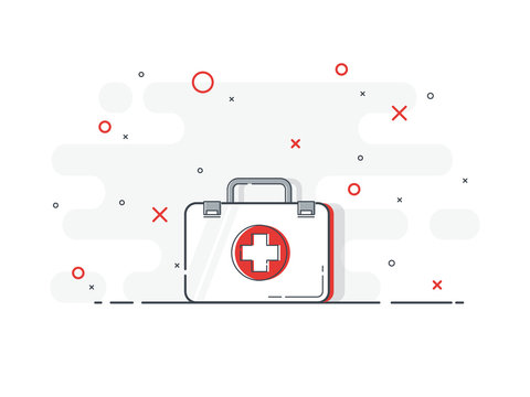 First aid kit medical. Health, help and medical diagnostics concept. Trendy flat vector on white background.