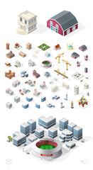 Set of Isolated High Quality Isometric City Elements on White Background