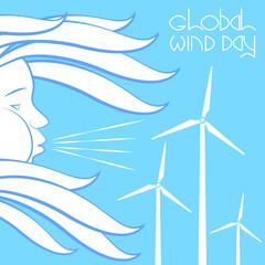 Global Wind Day. Wind symbol - face in profile, blowing, hair fluttering. Wind Turbines